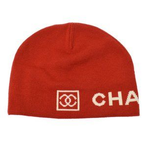CHANEL Sports Line CC Knitted Hat Red White Wool V